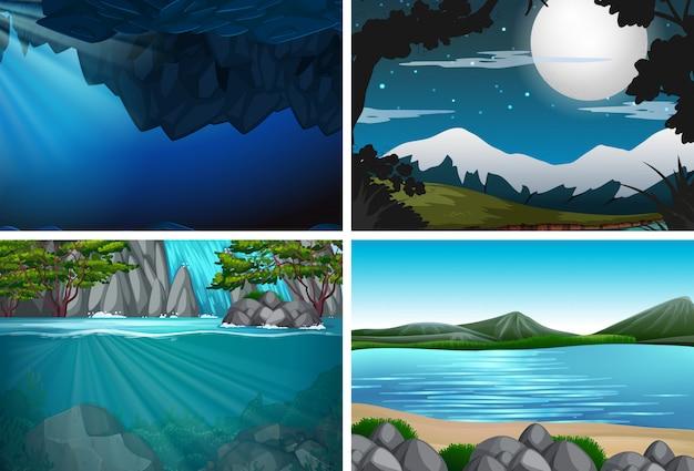 Conjunto de naturaleza con paisaje de agua.