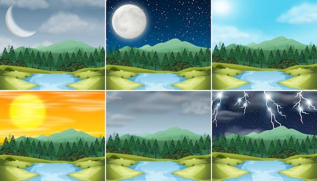 Conjunto de la naturaleza del paisaje diferente clima