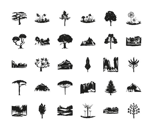 Conjunto de naturaleza de silueta árboles montañas