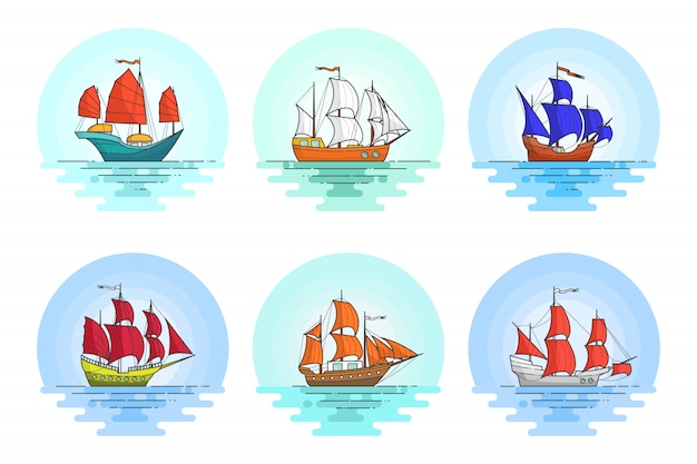 Conjunto de naves de colores con velas en el mar. banner itinerante con velero sobre olas. horizonte abstracto línea plana de arte. ilustracion vectorial concepto de viaje, turismo, agencia de viajes, hoteles, tarjeta vacacional.
