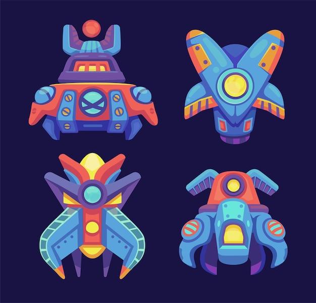 Conjunto de naves espaciales alienígenas