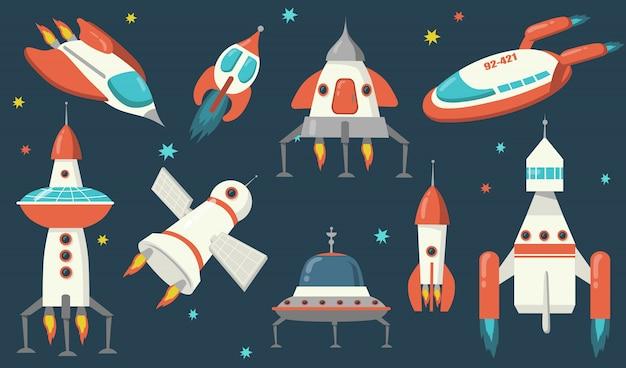 Conjunto de naves espaciales y cohetes.