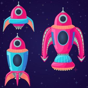 Conjunto de naves espaciales vector de dibujos animados y cohetes