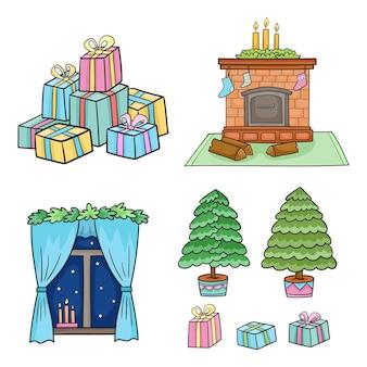Conjunto de navidad con calcetines decorados con chimenea para regalos y velas