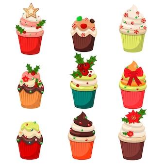 Conjunto de navidad de cupcakes y magdalenas ilustración