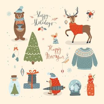 Conjunto de navidad dibujado a mano - inscripción, animales y otros elementos. invierno.