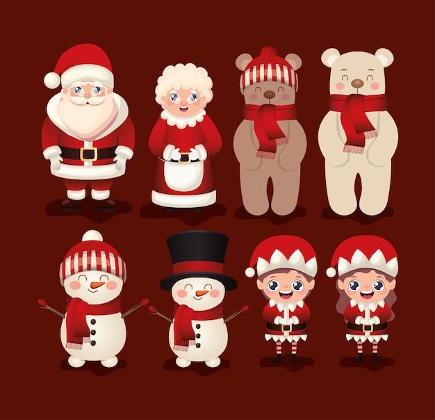 Conjunto de navidad en fondo rojo ilustración
