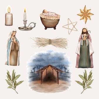 Conjunto de navidad, niño jesús, virgen maría y san josé
