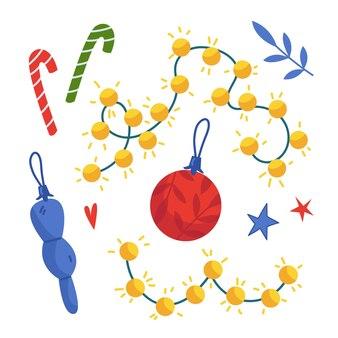 Conjunto de navidad de piruletas guirnalda de adornos navideños ilustración de vector de año nuevo s