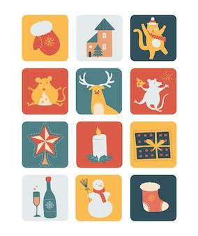 Conjunto navideño, animales, personajes y otros elementos. ilustración linda del vector.