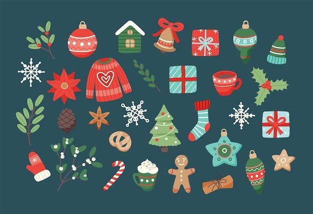 Conjunto navideño, lindos elementos de temporada.