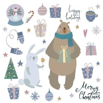 Conjunto navideño, oso, conejo y otros elementos navideños. ilustracion vectorial