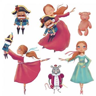 Conjunto navideño pintado a mano de personajes de dibujos animados lindo cascanueces