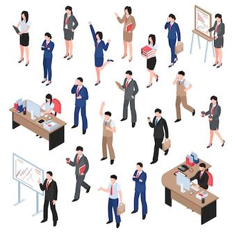 Conjunto de negocios de hombres y mujeres