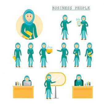 Conjunto de negocios mujer musulmana personaje plantea ilustración
