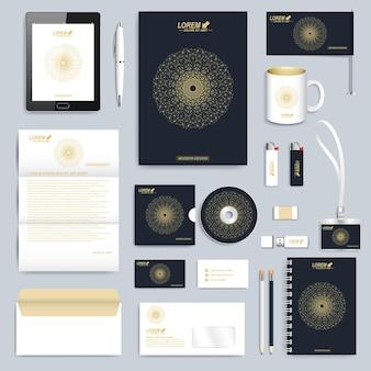 Conjunto negro de plantilla de identidad corporativa. diseño de marca de maqueta de papelería empresarial moderna