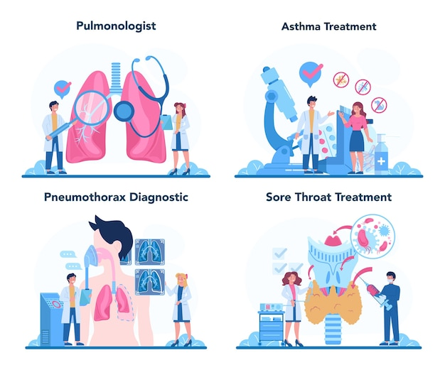 Conjunto de neumólogo. idea de salud y tratamiento médico.