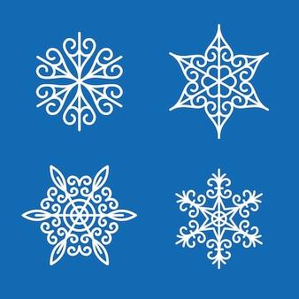 Conjunto de nieve de invierno de decoración de copos de nieve