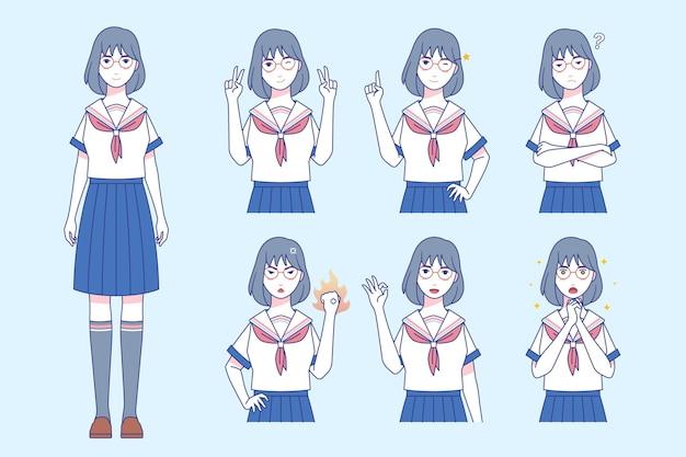 Conjunto de niña con diferentes emociones en estilo manga.