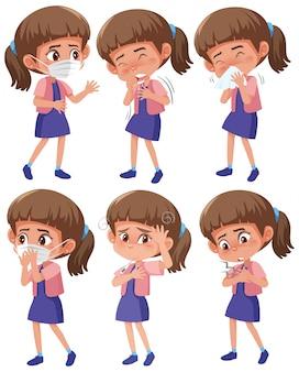 Conjunto de niña con diferentes síntomas sobre fondo blanco