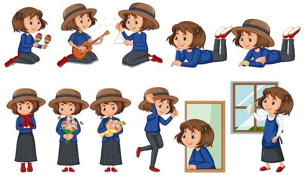 Conjunto de niña feliz haciendo diferentes actividades