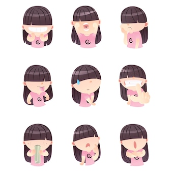 Conjunto de niña linda de dibujos animados