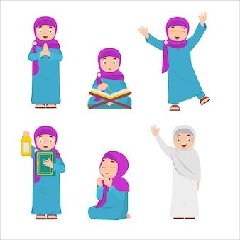 Conjunto de niña musulmana leyendo el corán, llevando linternas, rezando