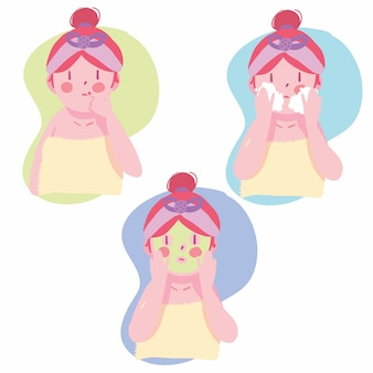 Conjunto de niña de rutina de cuidado de piel de cara