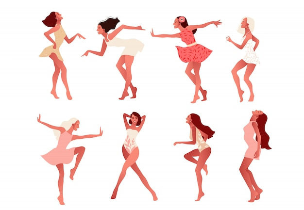 Conjunto de niñas felices o amigos bailando y riendo.