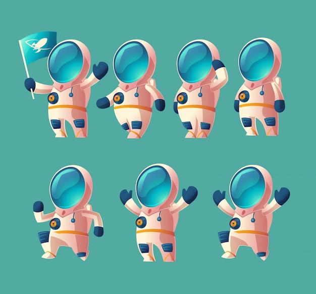 Conjunto de niño de astronauta de dibujos animados, cosmonauta en movimiento en traje espacial