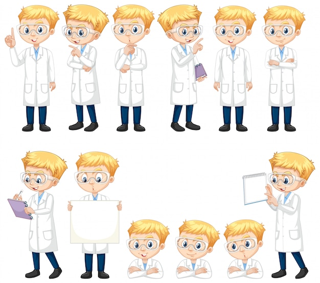 Conjunto de niño en bata de laboratorio haciendo diferentes poses