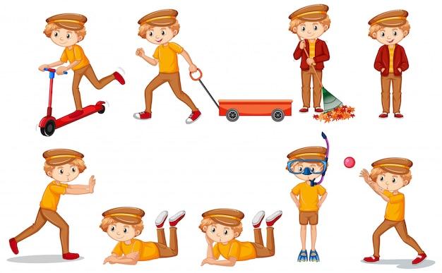 Conjunto de niño en camisa amarilla haciendo muchas actividades