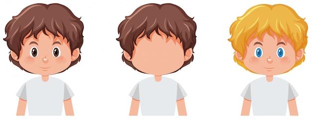 Conjunto de niño con diferente color de cabello.