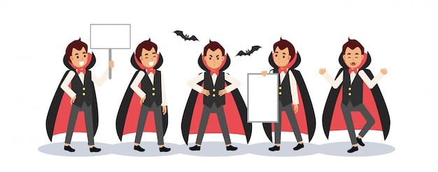 Conjunto de niño disfrazado de vampiro drácula para el festival de halloween. un niño con cartel en blanco.