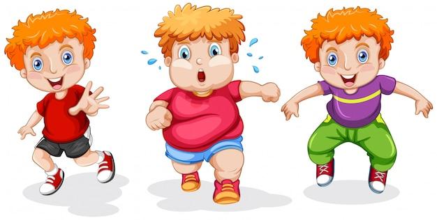 Conjunto de niño gordito corriendo
