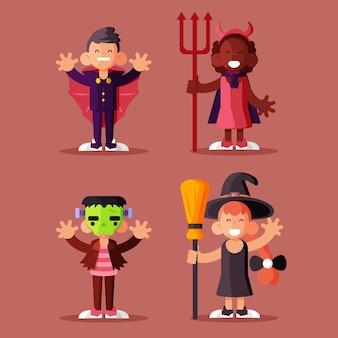Conjunto de niño de halloween de diseño plano