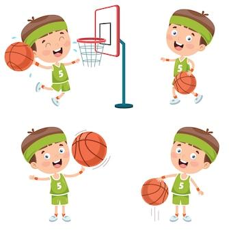 Conjunto de niño jugando baloncesto