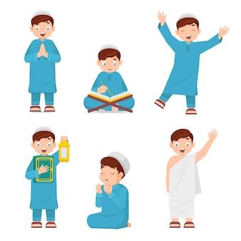 Conjunto de niño musulmán leyendo el corán, llevando linternas, rezando
