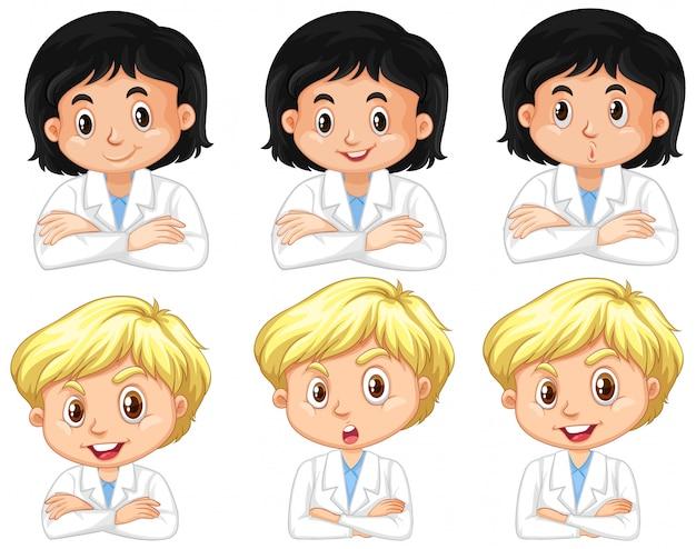 Conjunto de niño y niña en bata de ciencia con diferentes expresiones faciales