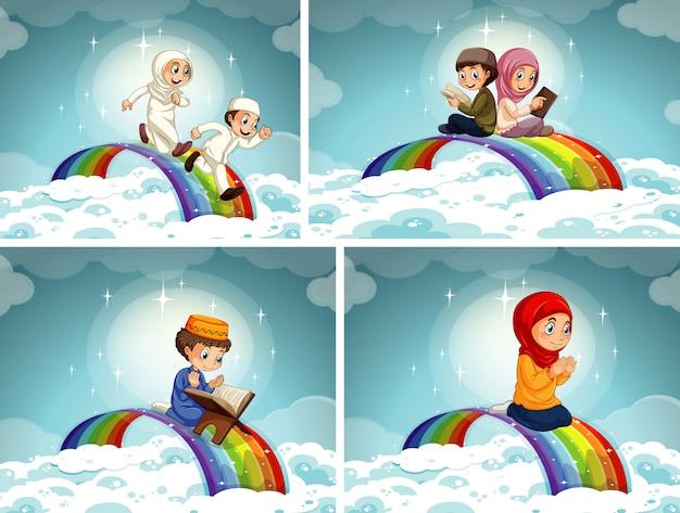 Conjunto de niño y niña musulmanes árabes en ropa tradicional aislado sobre fondo de cielo con arco iris