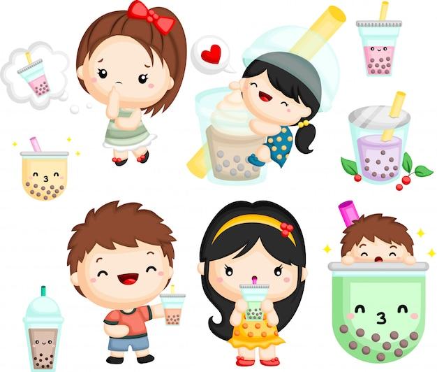 Conjunto de un niño y una niña con té de burbujas