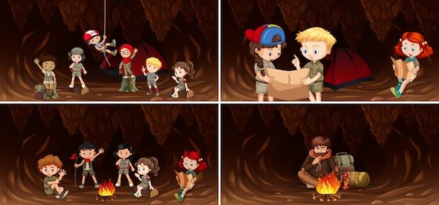 Conjunto de niños acampando en cueva