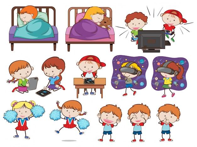 Un conjunto de niños y actividades de doodle