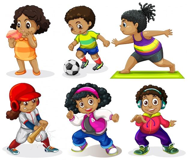 Conjunto de niños africanos