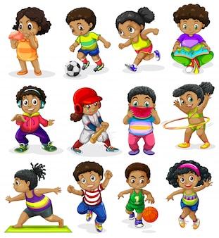 Conjunto de niños afroamericanos