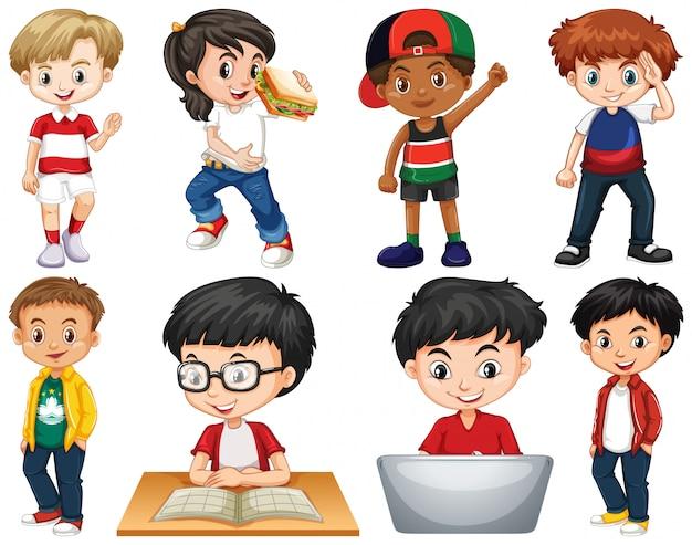 Conjunto de niños aislados que realizan diferentes actividades