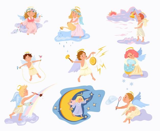 Conjunto de niños ángel lindos, felices y encantadores en diferentes acciones.