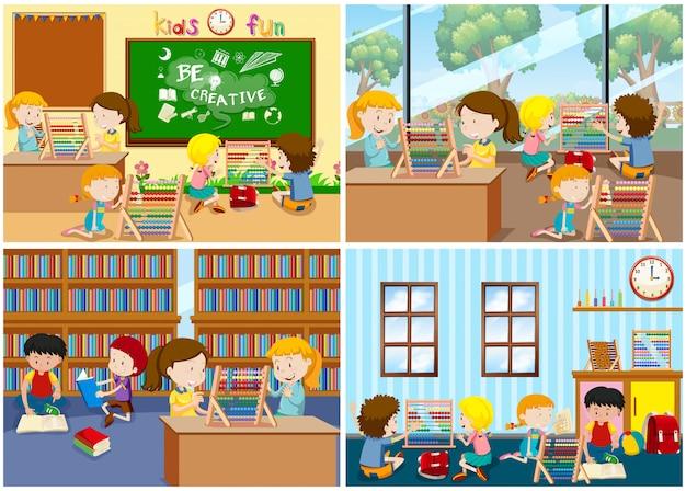Un conjunto de niños aprendiendo ábaco