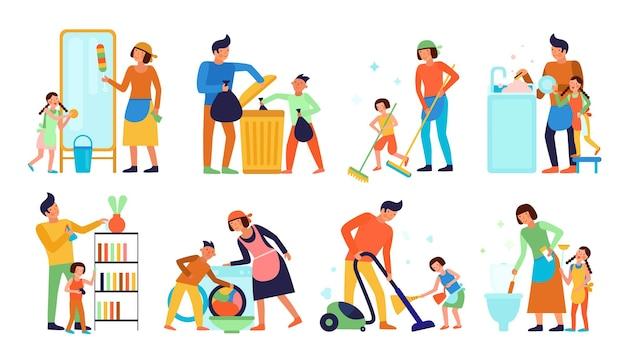 Conjunto de niños ayudando a los padres con la limpieza del hogar.