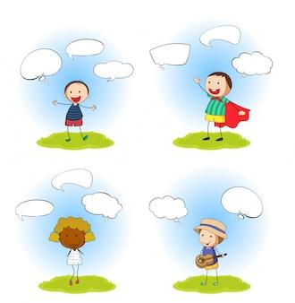 Conjunto de niños con burbujas de discurso